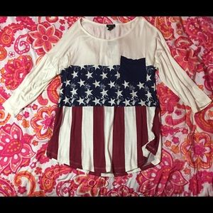 Red, white, and blue blouse